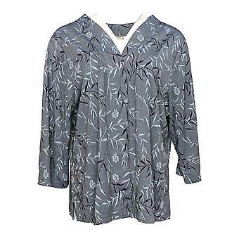 Serengeti Women's Plus Sweater Cardigan 3/4 Sleeve Floral Blue