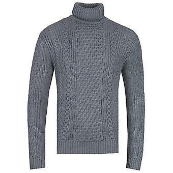 Edwin United Grey Heather Roll-Neck Sweater