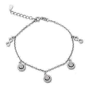 "ELANZA 1.44 Ct Cubic Zirconia CZ Charm Bracelet Sterling Silver Sz 7"" 1"""