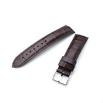 Strapocde crocodile grain watch strap 20mm, 22mm crococalf (croco grain) matte brown semi-curved watch strap, brown stitching, p