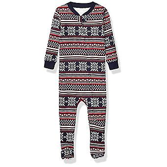 Essentials Kids Baby and Toddler Zip-Front Footed Sleeper, Navy Fairisle, 4T