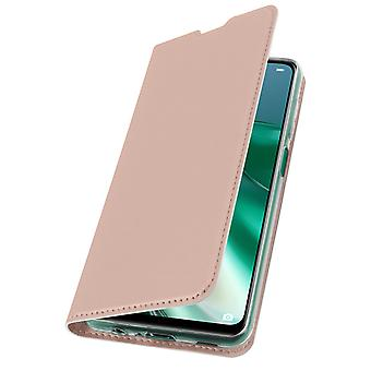 Huawei P40 Lite 5G Flip Case with Stand Function and Wallet - Rose Gold