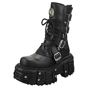 New Rock New Punk And Rock Unisex Platform Boots in Black