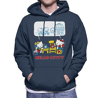 Hello Kitty And Mimmy Soda Fountain Chat Men's Hooded Sweatshirt