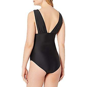 Brand - Coastal Blue Women's One Piece Swimsuit, Ebony, S