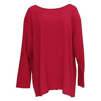 BROOKE SHIELDS Timeless Women's Plus Long Slv Knit Top True Red A341965