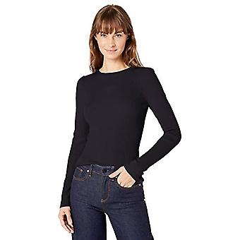 Lark & Ro Women's Slim Fit Ribbed Puff Sleeve Sweater, Dark Navy, Medium