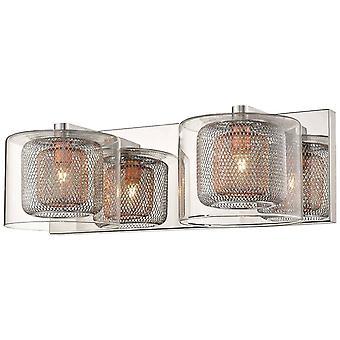 2 lichte indoor glazen wandlicht mesh chroom, koper, G9