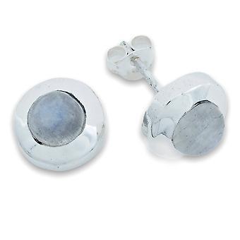 Orecchini a cino d'argento 925 Sterling Silver Rainbow Moonstone White Stone (Nr: MOS 70-04)