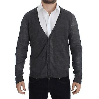 Costume National Gray Wool Button Cardigan Sweater