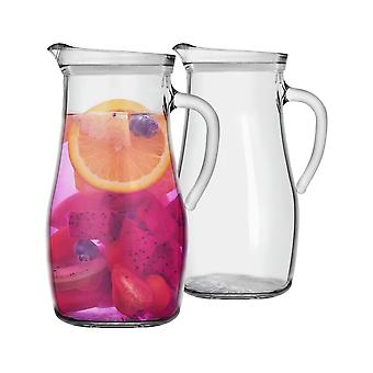 2 Piece Tallo Glass Water Jug Set - Large Pitcher Carafe with Handle for Water, Juice, Iced Tea - 1.8L