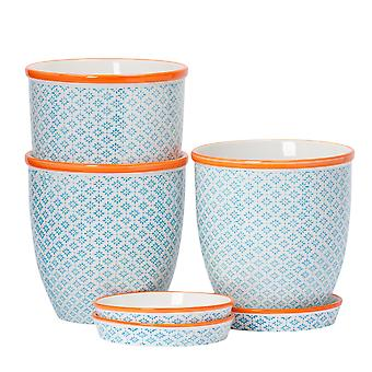 Nicola Spring 3 Piece Hand-Printed Plant Pot with Saucer Set - Porcelain Flower Pots and Drip Tray - Blue - 20 x 20.5cm