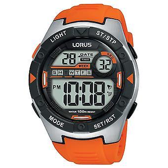 Lorus Mens Digital Sports Watch with Orange Soft Silicone Strap (Model R2303NX9)