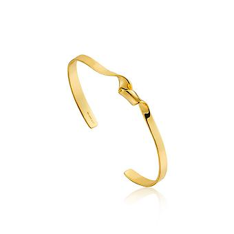 Ania Haie Sterling Silver Shiny Gold Plated Twist Cuff Bangle B012-01G