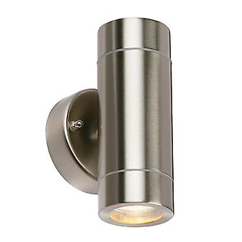 Saxby Lighting Palin - Lampe murale extérieure IP44 7W En acier inoxydable brossé & Verre transparent 2 Light Dimmable IP44 - GU10