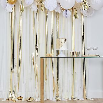 Gold Streamer Party Backdrop - Wedding Decorations White Cream Gold