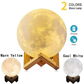 Usb Dc 5v 1a-3d Printing Touch Light Moon Lamp With Wooden Stand