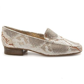 Women's Loafers Brunate Gold and Beige In Python Print