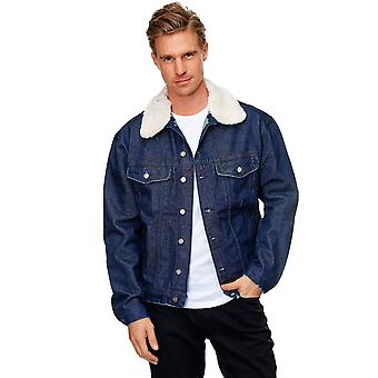 Men Jacket Skinny Fit Transition Jacket Raw Blue Demin Destroyed Casual Outwear