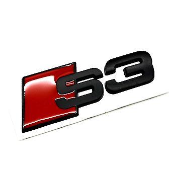 Matt Black/Red Metal Audi S3 Rear Boot Lid Trunk Badge Emblem Stick On