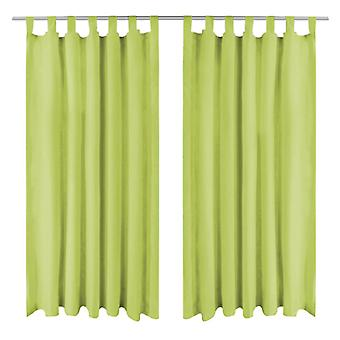 Curtains Micro-Satin 2 pcs. with loops 140×245 cm Green