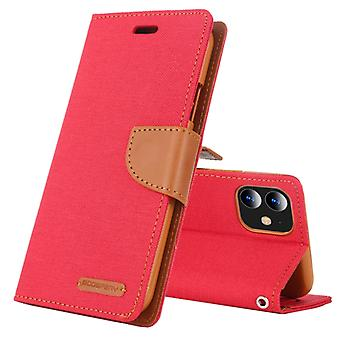 Pour iPhone 11 MERCURY GOOSPERY CANVAS DIARY Canvas Texture Horizontal Flip Leather Case with Card Slots & Portefeuille & Titulaire (Rouge)