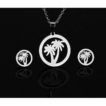Silber Farbe Edelstahl-Halskette, Ohrring Sets, Bär Kreuz Klee nie
