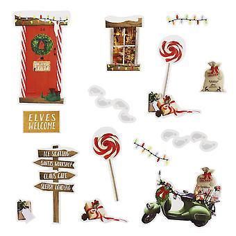 Christmas Elf Wall Stickers - Elf Ideas - 14 Stickers Resuseable
