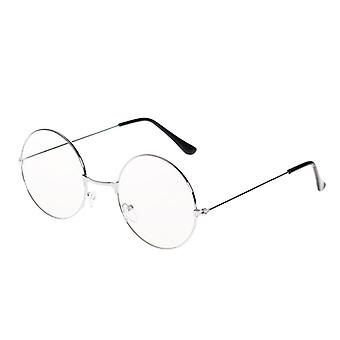 Man Woman Retro Large Round Glasses Transparent Metal Eyeglass Frame Spectacles