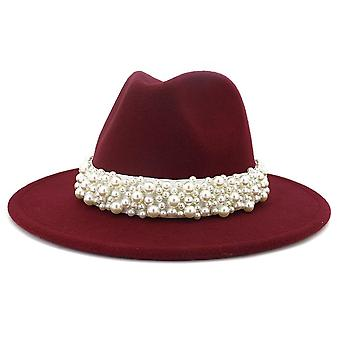 Women Wide Brim Imitation Wool Felt Fedora Hats
