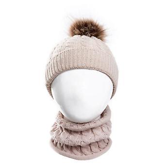 Cute Kid,, Baby Infant Winter Warm Crochet Knit Hat, Beanie Cap+scarf Solid Set