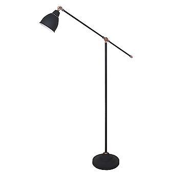 Italux Sonny - Industri- och retro golvlampa Grafit 1 Ljus, E27