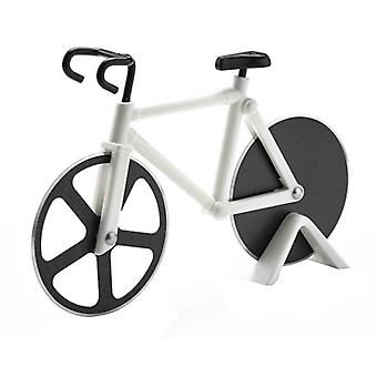 Pizza Cutting Tool Pizza Slicer Two-Wheeled Bicycle Shape Pastry Cutter White
