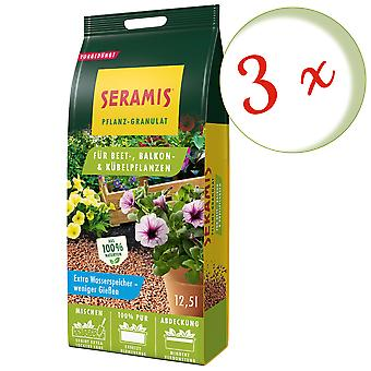 Sparset: 3 x SERAMIS® plant granules for bed, balcony & potted plants, 12.5 litres