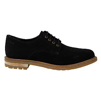 Clarks Foxwell Hall Black Suede Leather Lace Up Mens Oxford Shoes 261480047