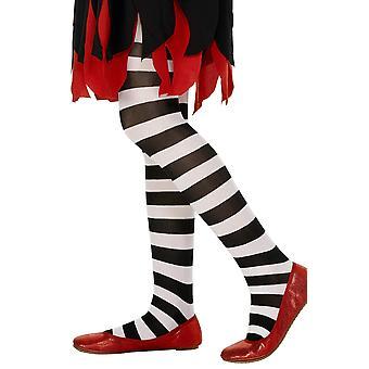 Smiffys roze en zwart gestreepte girl's panty's 6-12 jaar zwart/wit