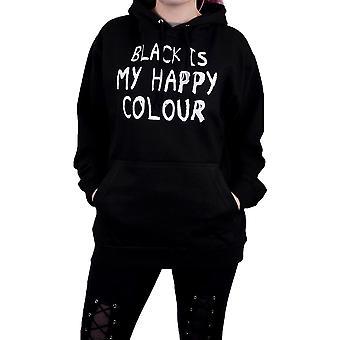 Grindstore Mens Black Is My Happy Colour Hoodie