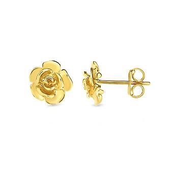 14k Yellow Gold Rose Bud Stud Earrings
