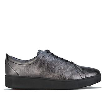 Women's Fit Flop Rally Crinkle Shimmer Sneakers in Black