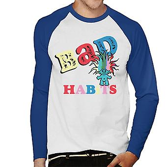 Trolls Bad Habits Multicolour Men's Baseball Long Sleeved T-Shirt