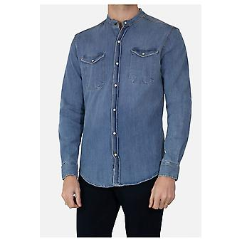 Camisa de cuello Mao en jeans delgados ajuste corte doblado