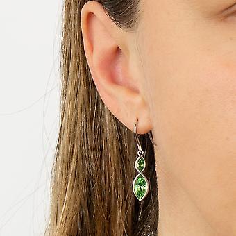 Fiorelli Silber Womens 925 Sterling Silber Rhodium vergoldet Peridot grün Kristall Marquise Drop Hook Ohrringe