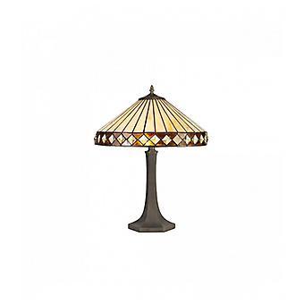 Lámpara De Mesa Tiffany Carole 2 Bombillas ámbar 40,5 Cm
