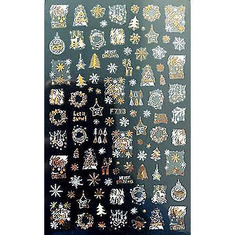 Schwarzer Laser Gold Herbst Blatt 3d Nagel Aufkleber