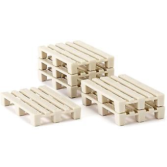 HanFei 7015, Zubehr-Set Paletten, Kunststoff, Beige, 50 Stuck, Fr Traktoren und Spielwelten im Mastab