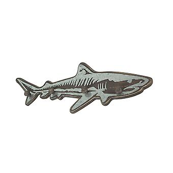 33 Inch Distressed Wood Shark Wall Hook Rack With Metal Accents Decorative Ocean Art Sculpture