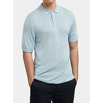 Stokes Light Blue Argyle Pattern Knitted Polo Shirt
