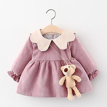 Детское платье, Весна Симпатичный лук сетки новорожденного платье