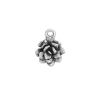Metal Charm, Succulent 12x15mm, Antiqued Silver, 1 Piece, by Nunn Design