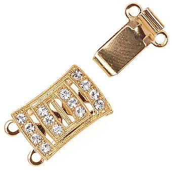 Filigree Box Clasps, 2 Strand Rectangle with Swarovsk Crystals 18x10mm, 1 Piece, Gold Plated